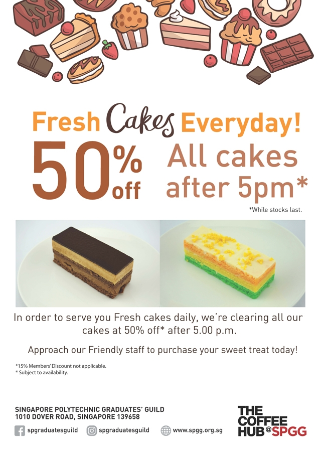 50% Off All Cakes After 5pm @ The Coffee Hub